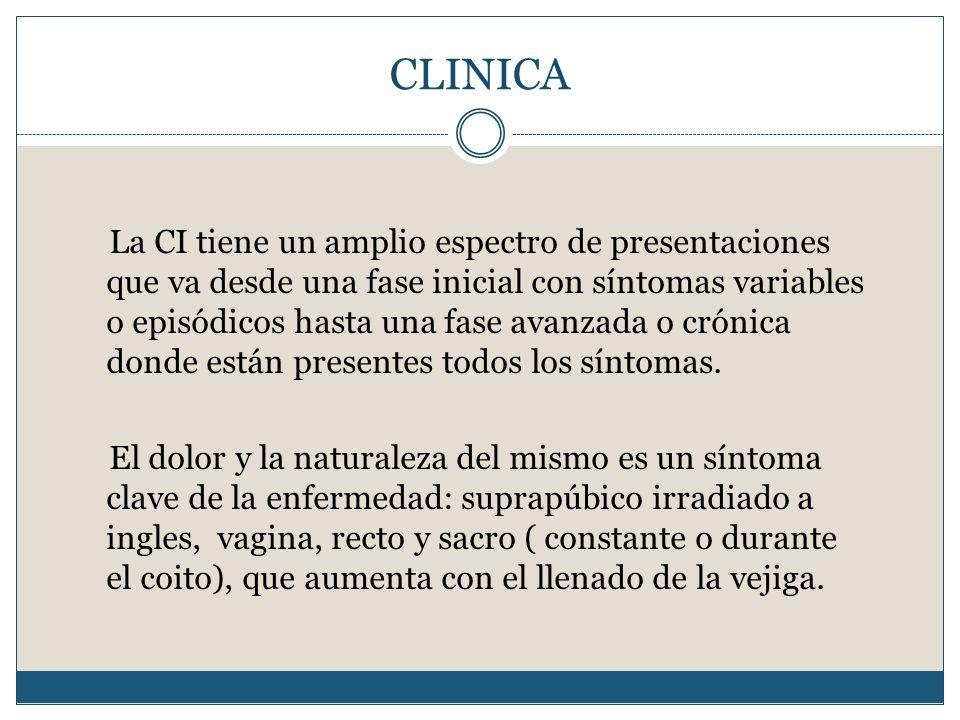 CLINICA La CI tiene un amplio espectro de presentaciones que va desde una fase inicial con síntomas variables o episódicos hasta una fase avanzada o c