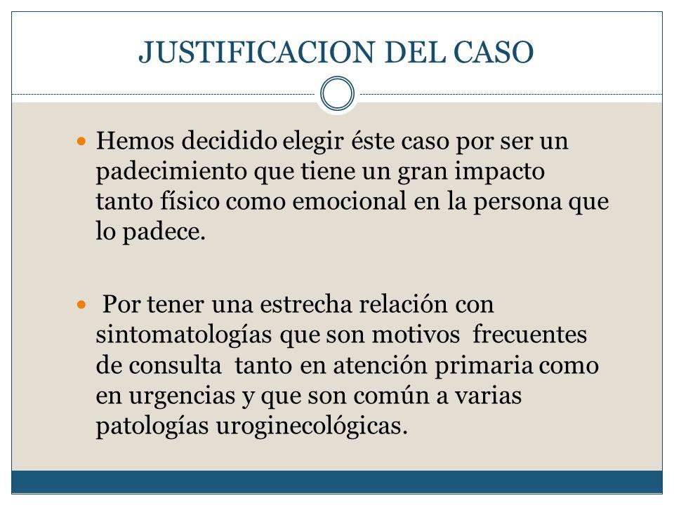 JUSTIFICACION DEL CASO Hemos decidido elegir éste caso por ser un padecimiento que tiene un gran impacto tanto físico como emocional en la persona que