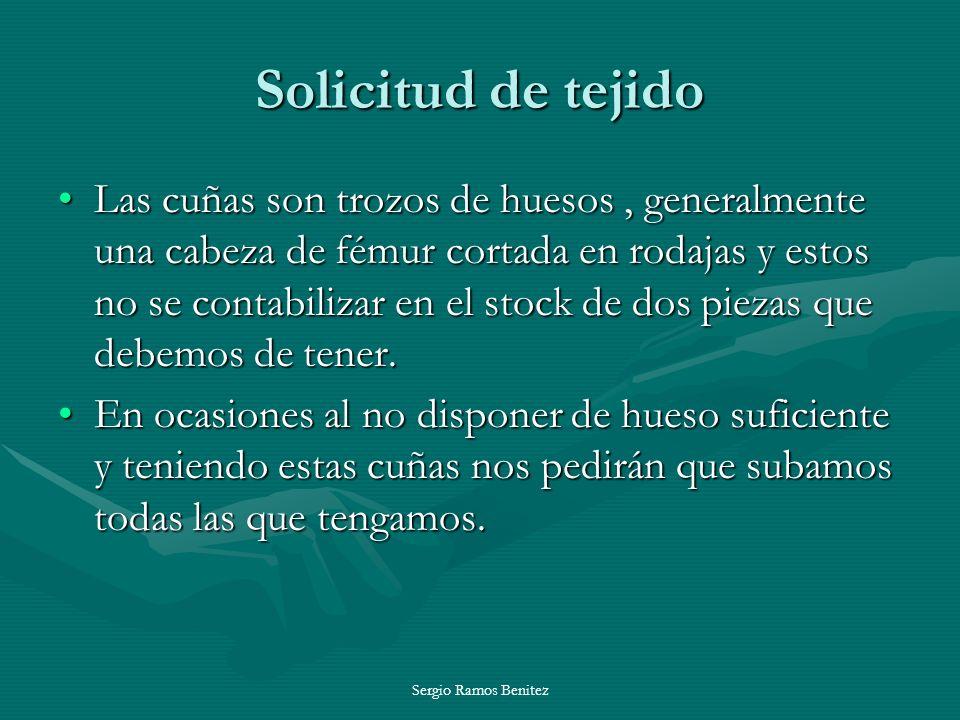 Sergio Ramos Benitez Solicitud de tejido Las cuñas son trozos de huesos, generalmente una cabeza de fémur cortada en rodajas y estos no se contabiliza