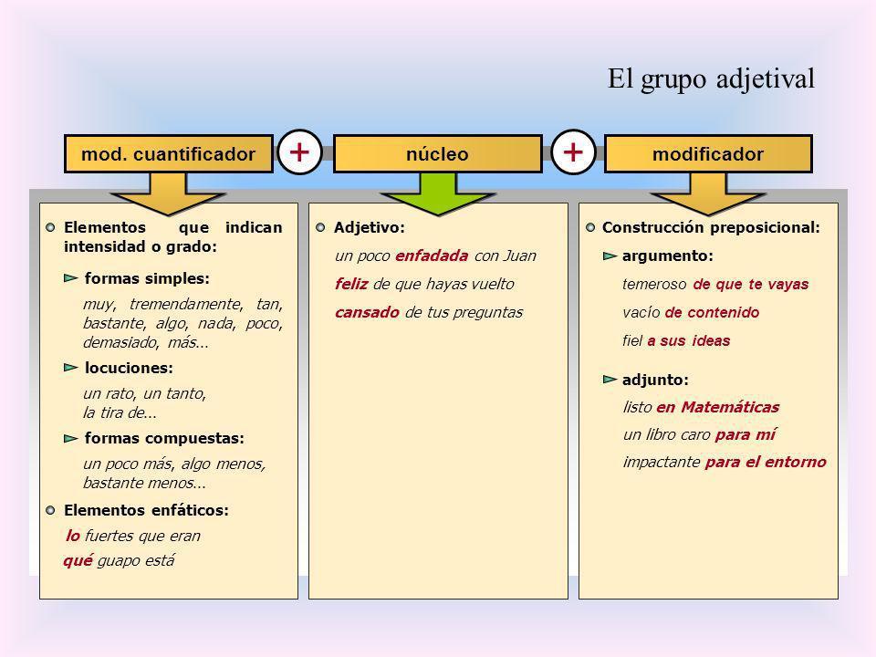 El grupo adjetival + + Elementos que indican intensidad o grado: núcleomod. cuantificadormodificador lo fuertes que eran qué guapo está Elementos enfá
