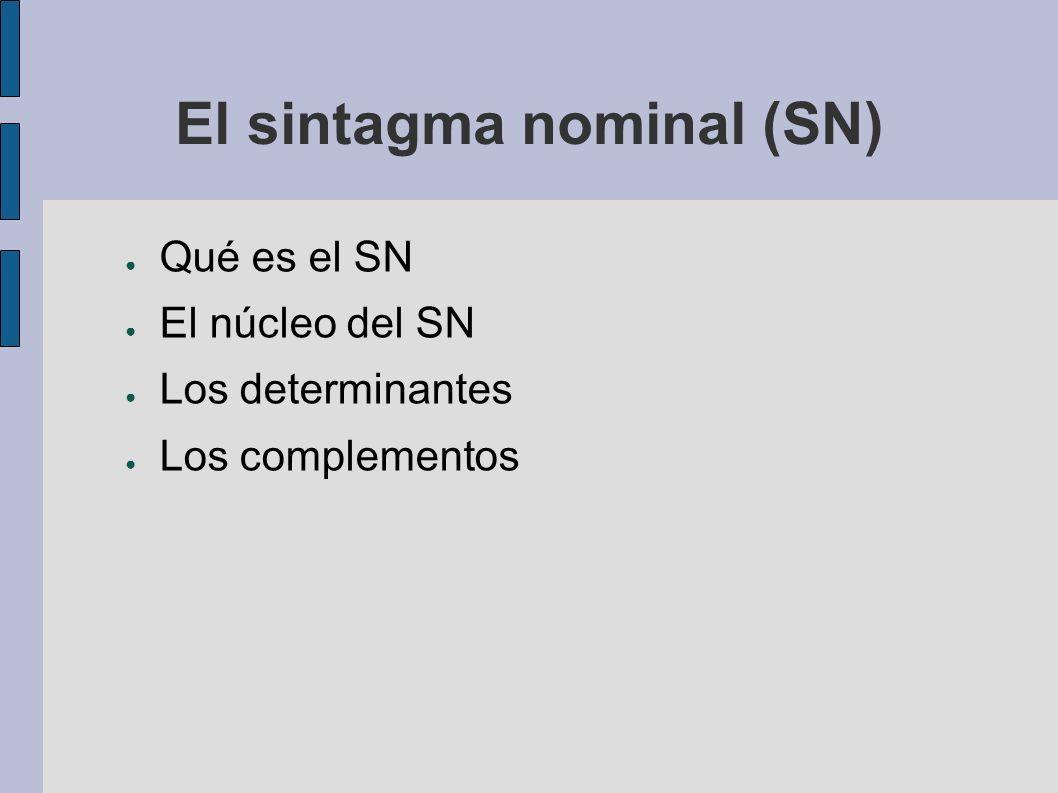 El sintagma nominal (SN) Qué es el SN El núcleo del SN Los determinantes Los complementos