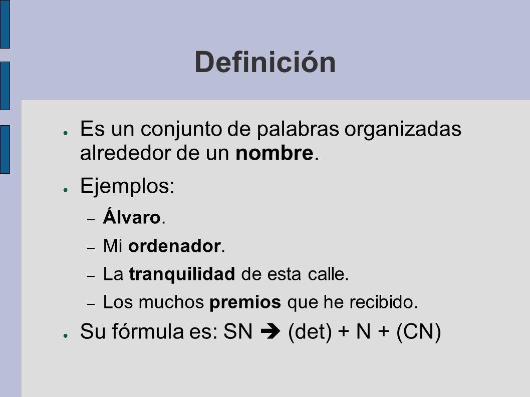 Definición Es un conjunto de palabras organizadas alrededor de un nombre. Ejemplos: – Álvaro. – Mi ordenador. – La tranquilidad de esta calle. – Los m