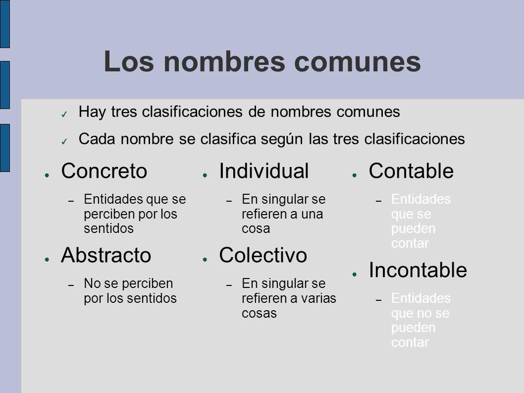 Los nombres comunes Concreto – Entidades que se perciben por los sentidos Abstracto – No se perciben por los sentidos Individual – En singular se refi