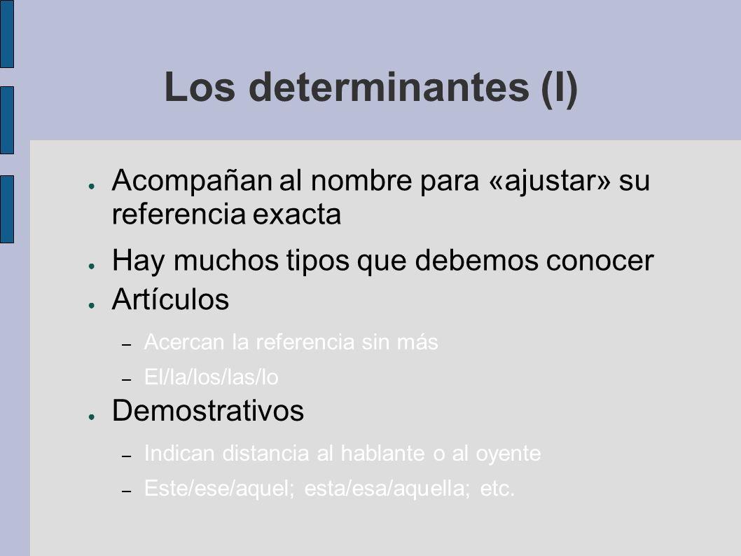 Los determinantes (I) Acompañan al nombre para «ajustar» su referencia exacta Hay muchos tipos que debemos conocer Artículos – Acercan la referencia s