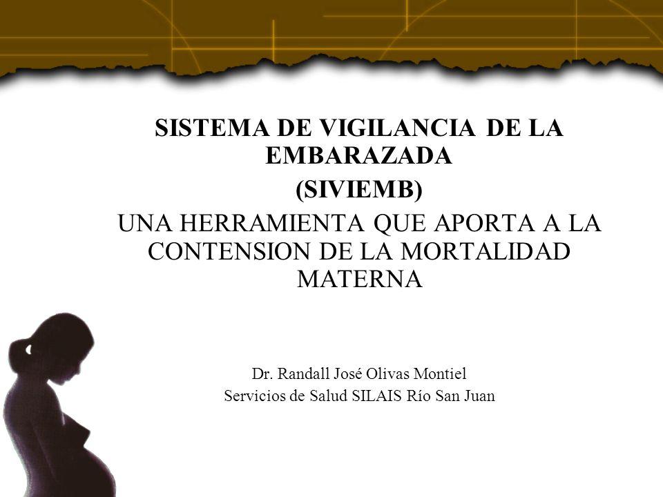 SISTEMA DE VIGILANCIA DE LA EMBARAZADA (SIVIEMB) UNA HERRAMIENTA QUE APORTA A LA CONTENSION DE LA MORTALIDAD MATERNA Dr. Randall José Olivas Montiel S