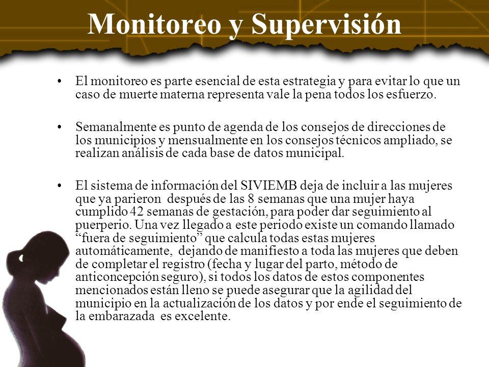 Monitoreo y Supervisión El monitoreo es parte esencial de esta estrategia y para evitar lo que un caso de muerte materna representa vale la pena todos