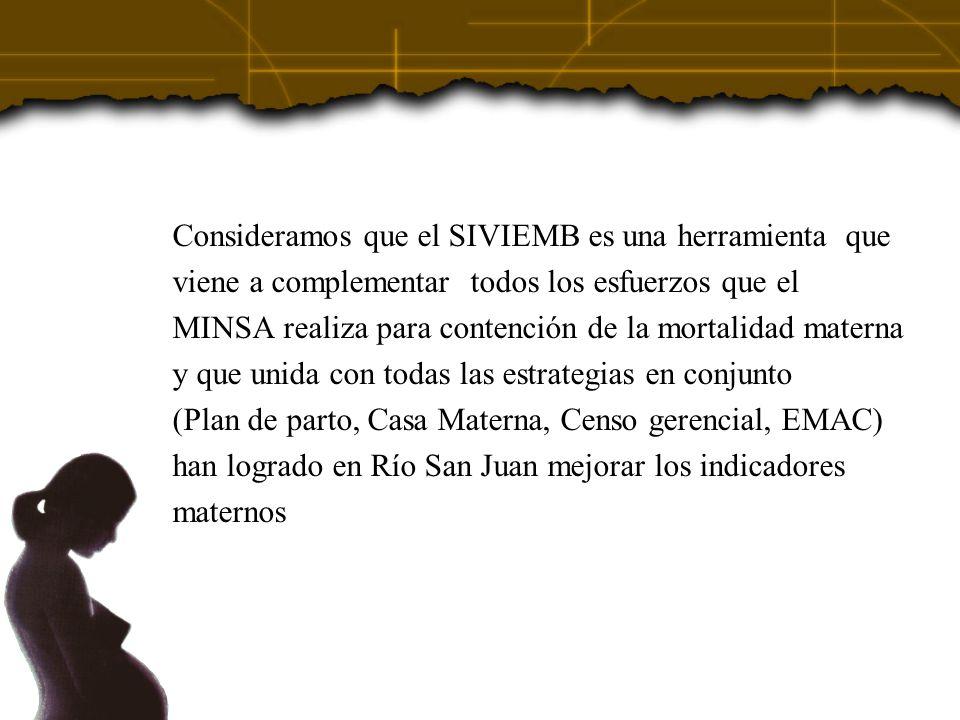 Consideramos que el SIVIEMB es una herramienta que viene a complementar todos los esfuerzos que el MINSA realiza para contención de la mortalidad mate