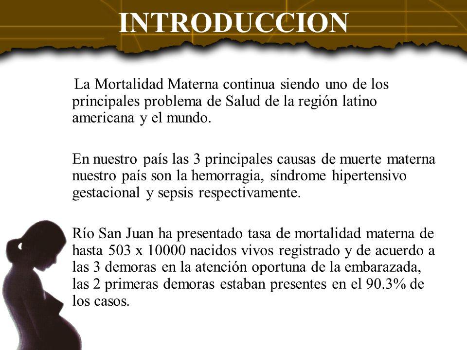 INTRODUCCION La Mortalidad Materna continua siendo uno de los principales problema de Salud de la región latino americana y el mundo. En nuestro país