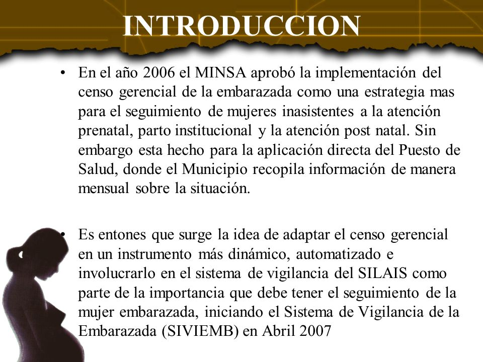 En el año 2006 el MINSA aprobó la implementación del censo gerencial de la embarazada como una estrategia mas para el seguimiento de mujeres inasisten