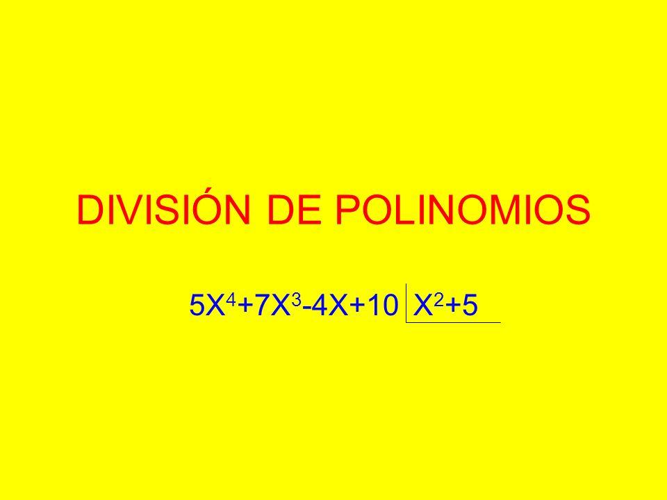 DIVISIÓN DE POLINOMIOS 5X 4 +7X 3 -4X+10 X 2 +5