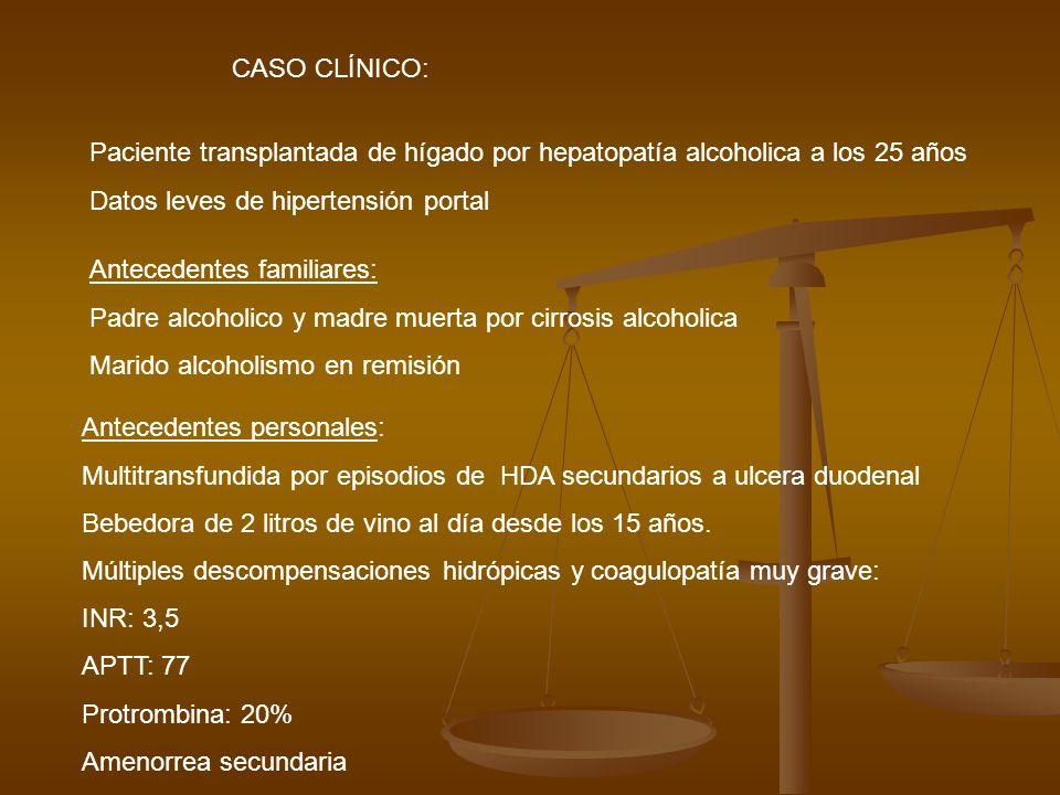 CASO CLÍNICO: Paciente transplantada de hígado por hepatopatía alcoholica a los 25 años Datos leves de hipertensión portal Antecedentes personales: Mu