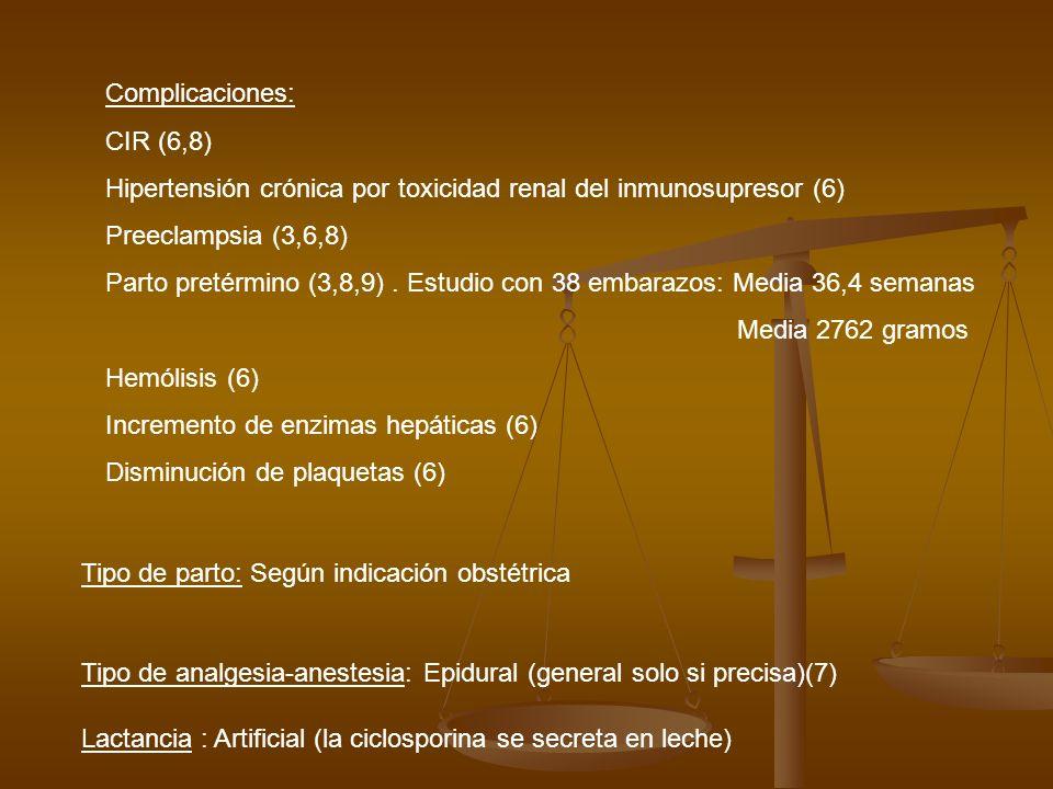 Complicaciones: CIR (6,8) Hipertensión crónica por toxicidad renal del inmunosupresor (6) Preeclampsia (3,6,8) Parto pretérmino (3,8,9). Estudio con 3
