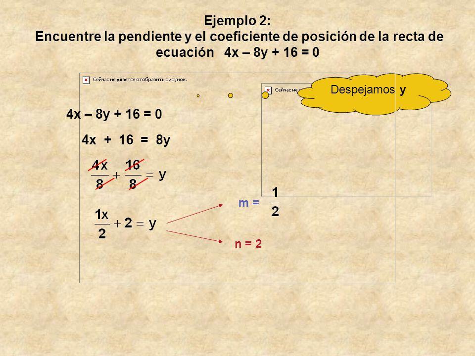 Ejemplo 2: Encuentre la pendiente y el coeficiente de posición de la recta de ecuación 4x – 8y + 16 = 0 Despejamos y 4x + 16 = 8y m = n = 2 4x – 8y + 16 = 0