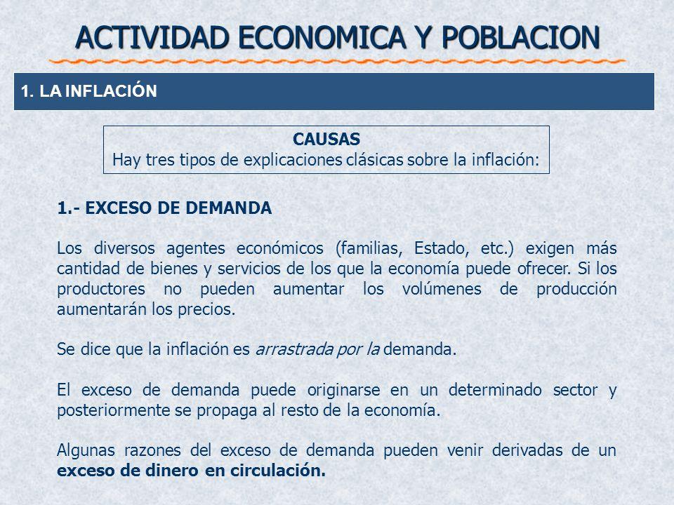 ACTIVIDAD ECONOMICA Y POBLACION 1. LA INFLACIÓN 1.- EXCESO DE DEMANDA Los diversos agentes económicos (familias, Estado, etc.) exigen más cantidad de