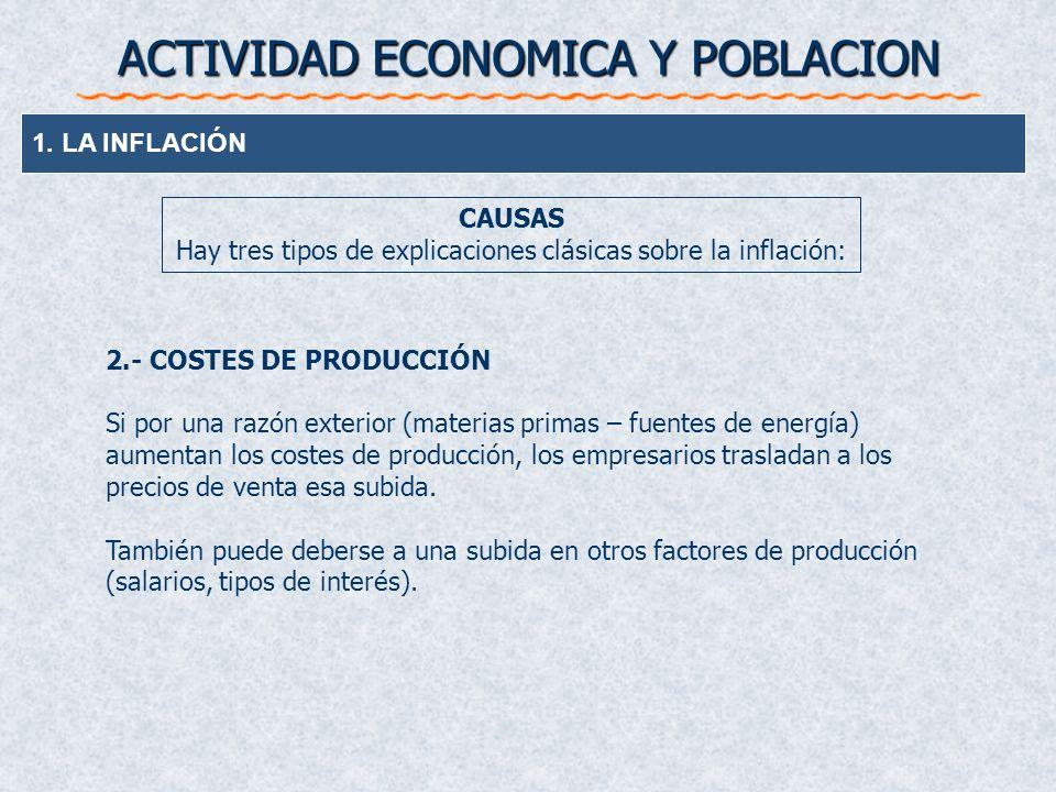 ACTIVIDAD ECONOMICA Y POBLACION 1. LA INFLACIÓN CAUSAS Hay tres tipos de explicaciones clásicas sobre la inflación: 2.- COSTES DE PRODUCCIÓN Si por un