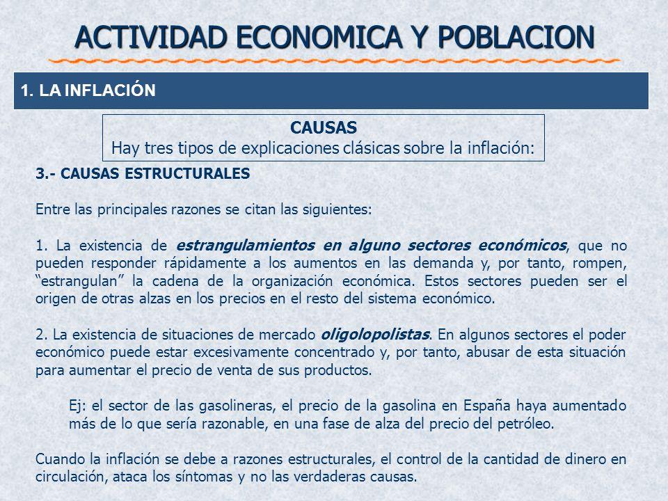 ACTIVIDAD ECONOMICA Y POBLACION 1. LA INFLACIÓN CAUSAS Hay tres tipos de explicaciones clásicas sobre la inflación: 3.- CAUSAS ESTRUCTURALES Entre las