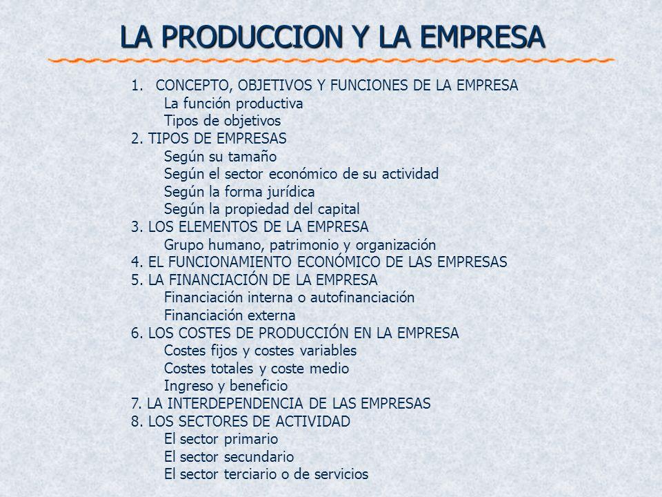 LA PRODUCCION Y LA EMPRESA 1.CONCEPTO, OBJETIVOS Y FUNCIONES DE LA EMPRESA La función productiva Tipos de objetivos 2. TIPOS DE EMPRESAS Según su tama
