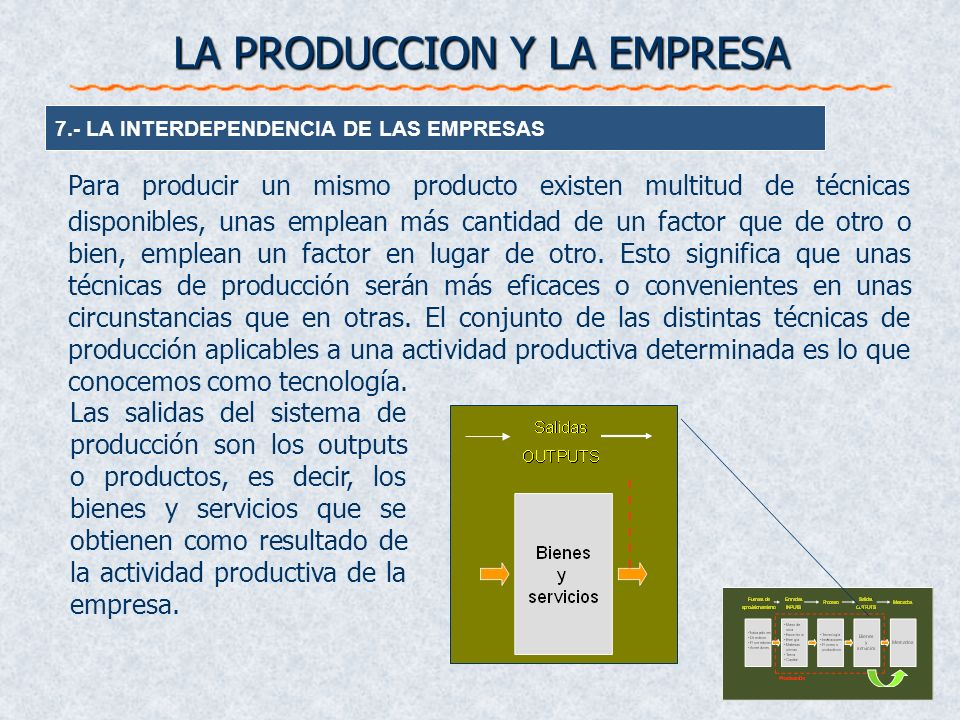LA PRODUCCION Y LA EMPRESA 7.- LA INTERDEPENDENCIA DE LAS EMPRESAS Para producir un mismo producto existen multitud de técnicas disponibles, unas empl