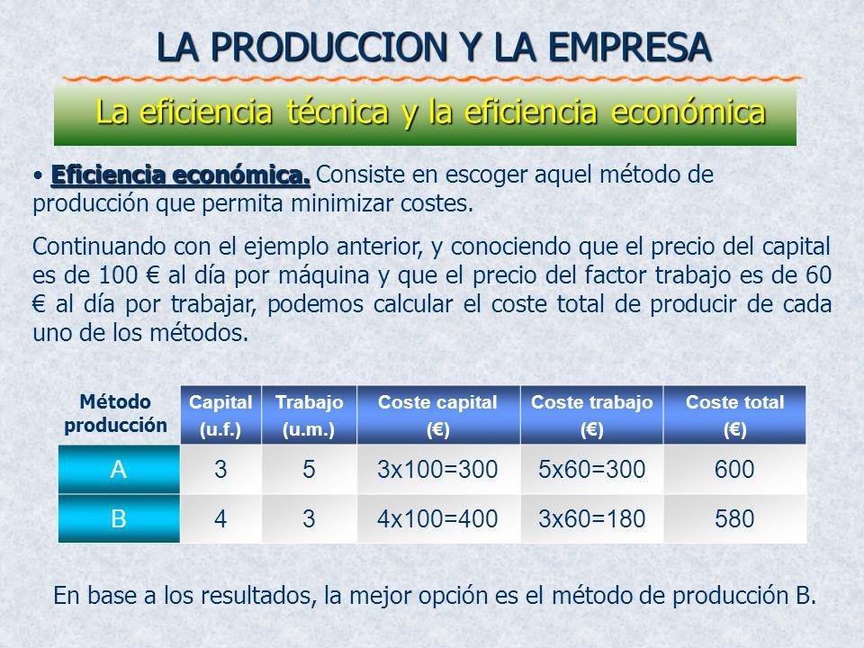 Eficiencia económica. Eficiencia económica. Consiste en escoger aquel método de producción que permita minimizar costes. Continuando con el ejemplo an