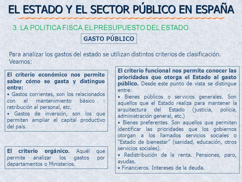 GASTO PÚBLICO EL ESTADO Y EL SECTOR PÚBLICO EN ESPAÑA 3. LA POLITICA FISCA.EL PRESUPUESTO DEL ESTADO El criterio económico nos permite saber cómo se g