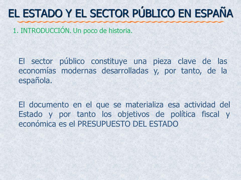 EL ESTADO Y EL SECTOR PÚBLICO EN ESPAÑA 1. INTRODUCCIÓN. Un poco de historia. El sector público constituye una pieza clave de las economías modernas d