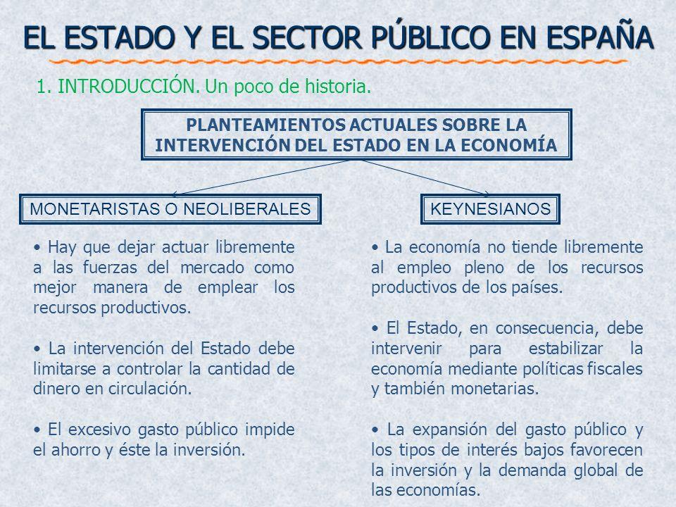 EL ESTADO Y EL SECTOR PÚBLICO EN ESPAÑA 1. INTRODUCCIÓN. Un poco de historia. La economía no tiende libremente al empleo pleno de los recursos product