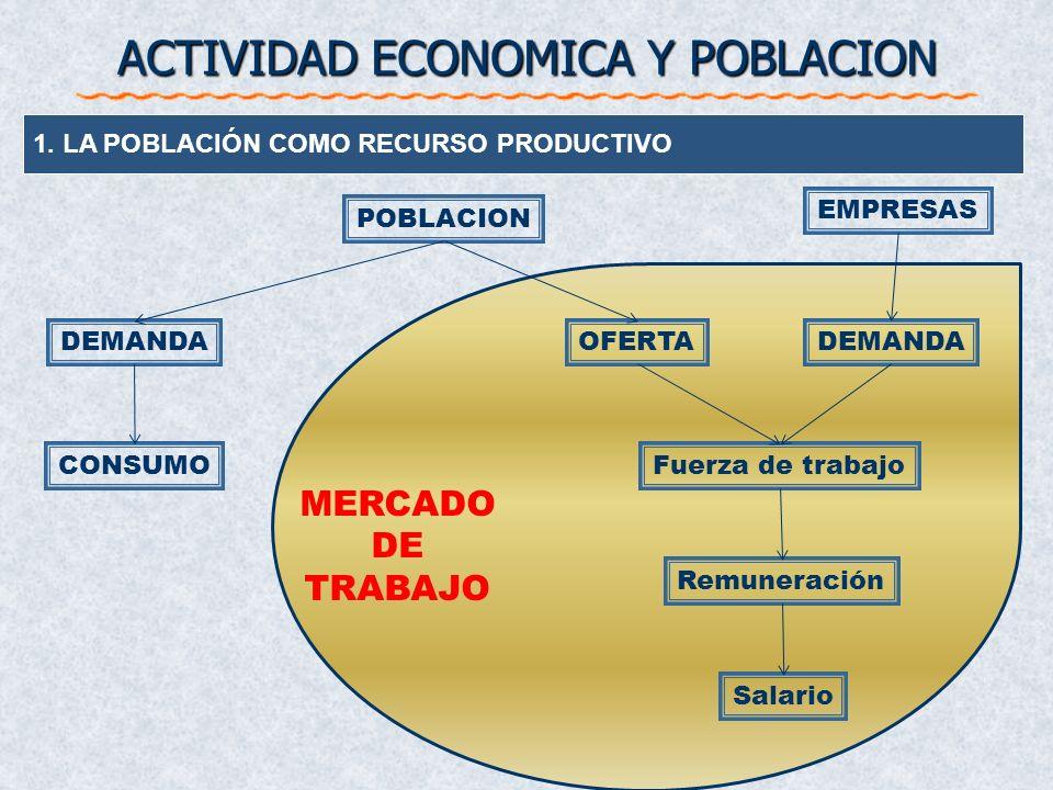 ACTIVIDAD ECONOMICA Y POBLACION 1.LA POBLACIÓN COMO RECURSO PRODUCTIVO 2. ASPECTOS CUANTITATIVOS DEL FACTOR TRABAJO Población activa Población ocupada
