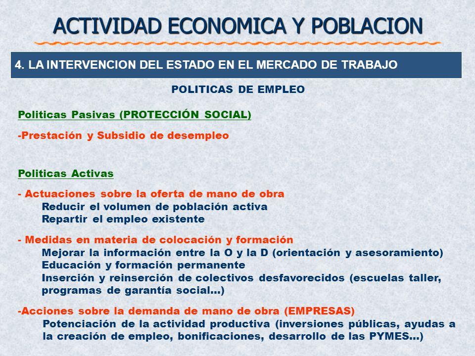 4. LA INTERVENCION DEL ESTADO EN EL MERCADO DE TRABAJO ACTIVIDAD ECONOMICA Y POBLACION En la actualidad el Estado (en España) interviene, entre otras,