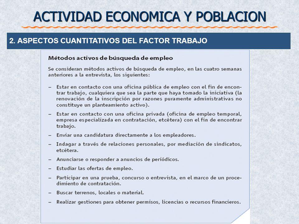 POBLACION Encuesta de Poblacion Activa (EPA) Poblacion Activa Ocupados Parados Inactivos 2. ASPECTOS CUANTITATIVOS DEL FACTOR TRABAJO ACTIVIDAD ECONOM
