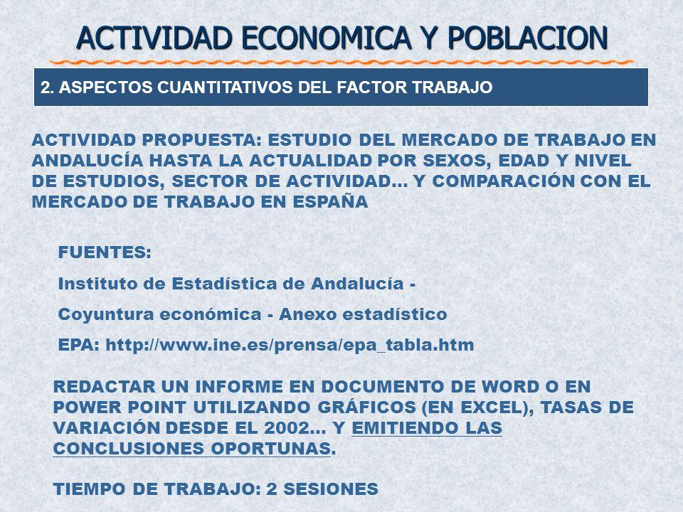 2. ASPECTOS CUANTITATIVOS DEL FACTOR TRABAJO ACTIVIDAD ECONOMICA Y POBLACION Componente Demográfico Pedt/Pob Tasa de Actividad Act/Pedt Tasa de Ocupac