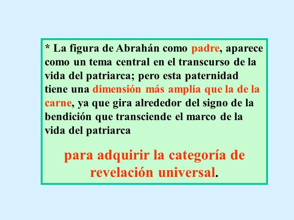 * La figura de Abrahán como padre, aparece como un tema central en el transcurso de la vida del patriarca; pero esta paternidad tiene una dimensión má