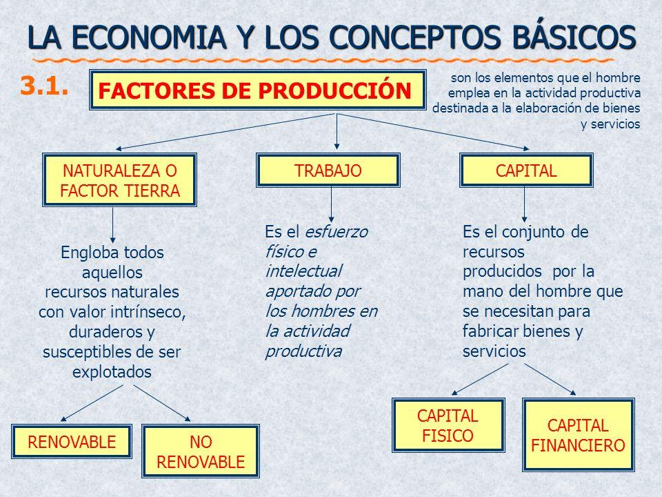 LA ECONOMIA Y LOS CONCEPTOS BÁSICOS NATURALEZA O FACTOR TIERRA FACTORES DE PRODUCCIÓN TRABAJOCAPITAL 3.1. Engloba todos aquellos recursos naturales co