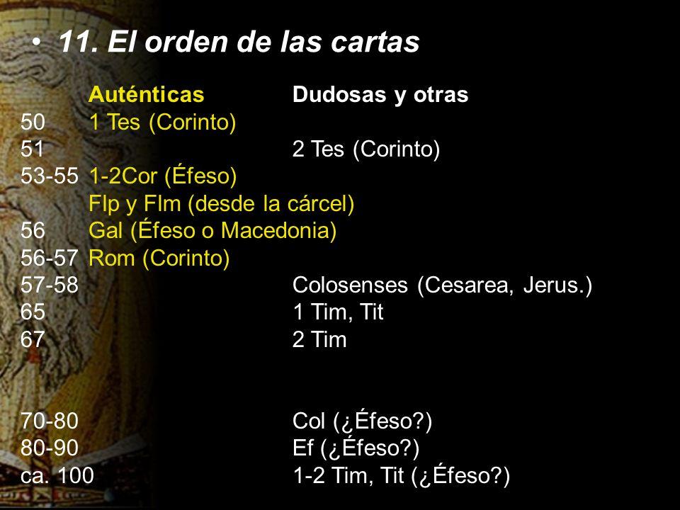 11. El orden de las cartas AuténticasDudosas y otras 501 Tes (Corinto) 512 Tes (Corinto) 53-551-2Cor (Éfeso) Flp y Flm (desde la cárcel) 56Gal (Éfeso