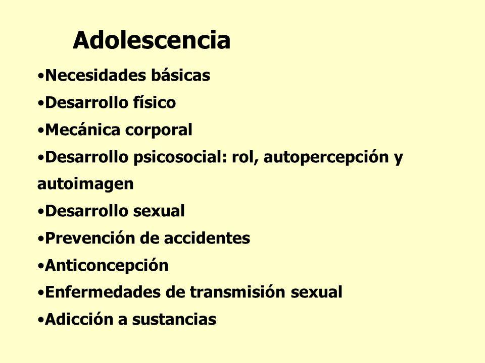 Adolescencia Necesidades básicas Desarrollo físico Mecánica corporal Desarrollo psicosocial: rol, autopercepción y autoimagen Desarrollo sexual Preven