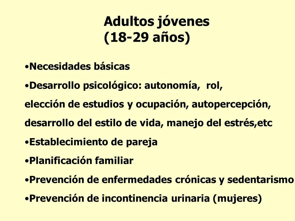 Adultos jóvenes (18-29 años) Necesidades básicas Desarrollo psicológico: autonomía, rol, elección de estudios y ocupación, autopercepción, desarrollo