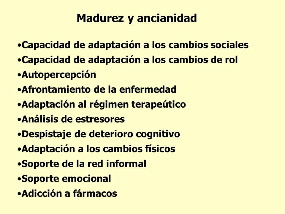 Madurez y ancianidad Capacidad de adaptación a los cambios sociales Capacidad de adaptación a los cambios de rol Autopercepción Afrontamiento de la en