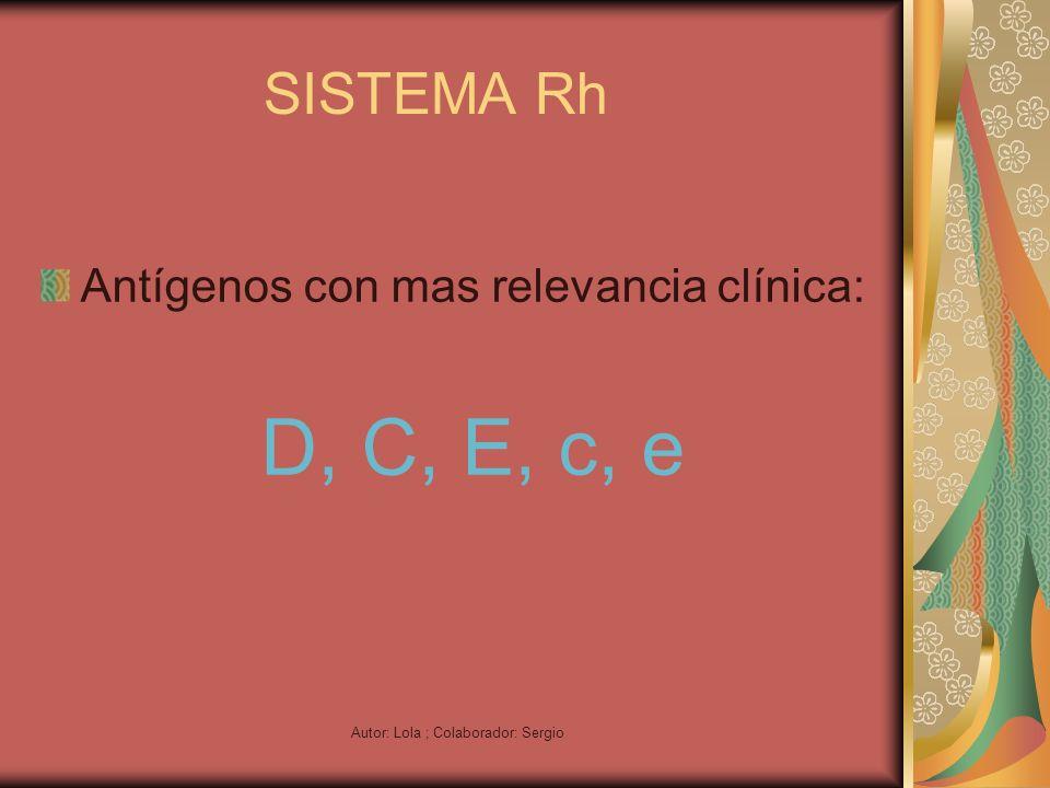 Autor: Lola ; Colaborador: Sergio SISTEMA Rh Antígenos con mas relevancia clínica: D, C, E, c, e
