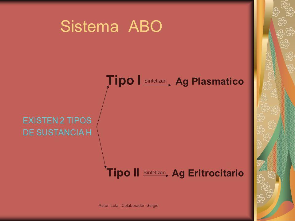 Autor: Lola ; Colaborador: Sergio Sistema ABO Tipo I Sintetizan Ag Plasmatico EXISTEN 2 TIPOS DE SUSTANCIA H Tipo II Sintetizan Ag Eritrocitario