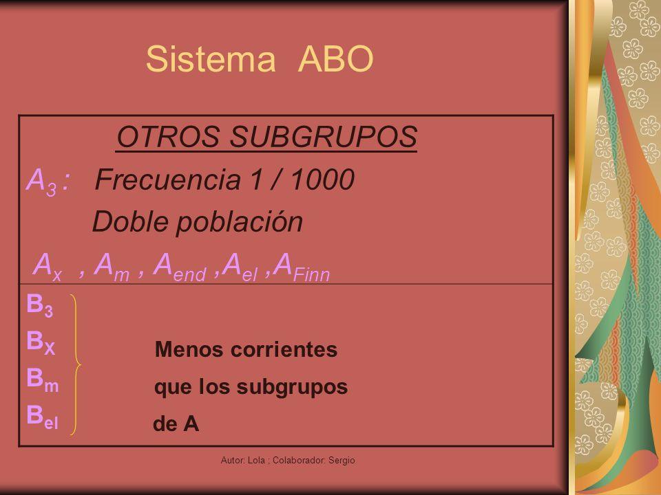 Autor: Lola ; Colaborador: Sergio Sistema ABO OTROS SUBGRUPOS A 3 : Frecuencia 1 / 1000 Doble población A x, A m, A end,A el,A Finn B 3 B X Menos corr