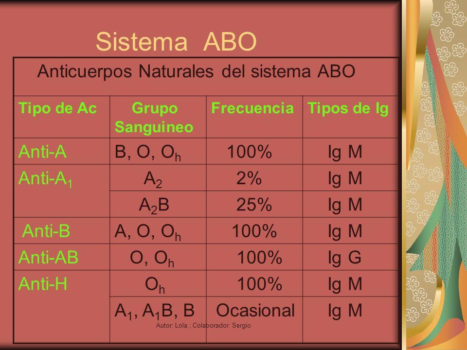 Autor: Lola ; Colaborador: Sergio Sistema ABO Anticuerpos Naturales del sistema ABO Tipo de Ac Grupo Sanguineo FrecuenciaTipos de Ig Anti-AB, O, O h 1