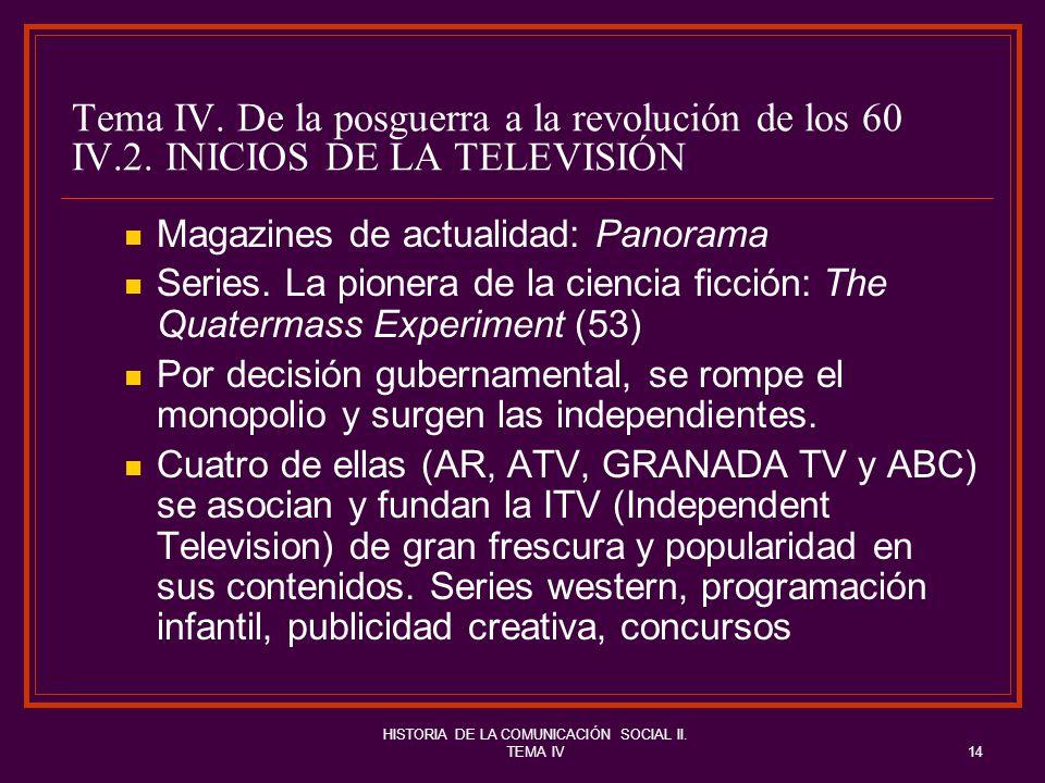 HISTORIA DE LA COMUNICACIÓN SOCIAL II. TEMA IV14 Tema IV. De la posguerra a la revolución de los 60 IV.2. INICIOS DE LA TELEVISIÓN Magazines de actual