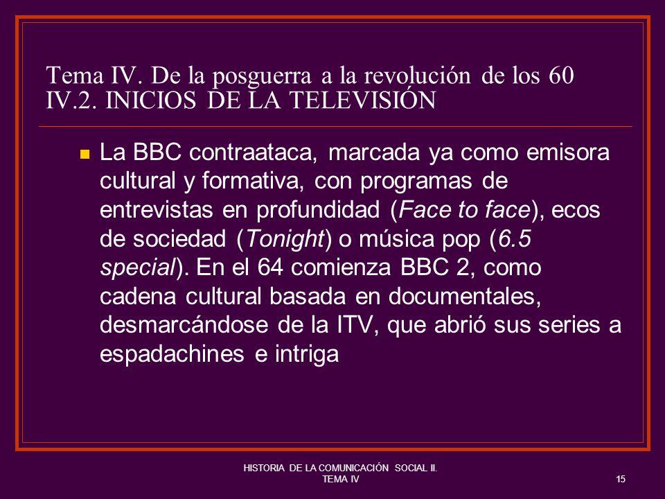 HISTORIA DE LA COMUNICACIÓN SOCIAL II. TEMA IV15 Tema IV. De la posguerra a la revolución de los 60 IV.2. INICIOS DE LA TELEVISIÓN La BBC contraataca,