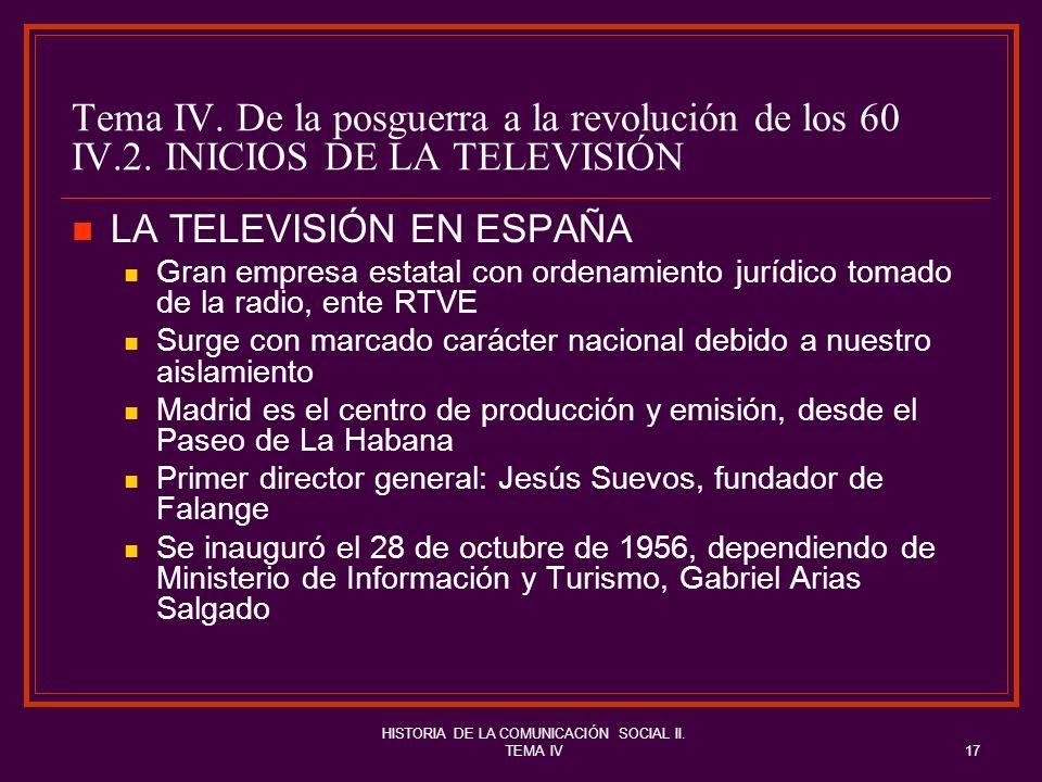 HISTORIA DE LA COMUNICACIÓN SOCIAL II. TEMA IV17 Tema IV. De la posguerra a la revolución de los 60 IV.2. INICIOS DE LA TELEVISIÓN LA TELEVISIÓN EN ES