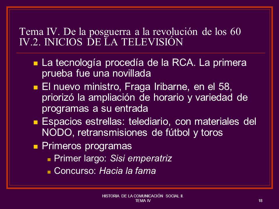 HISTORIA DE LA COMUNICACIÓN SOCIAL II. TEMA IV18 Tema IV. De la posguerra a la revolución de los 60 IV.2. INICIOS DE LA TELEVISIÓN La tecnología proce