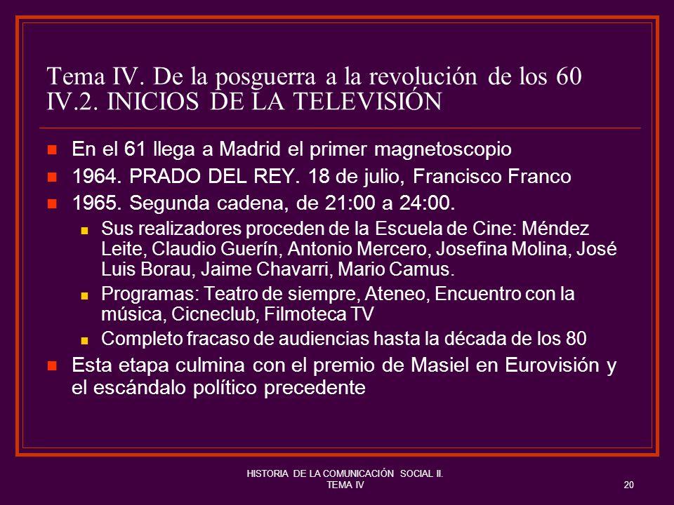 HISTORIA DE LA COMUNICACIÓN SOCIAL II. TEMA IV20 Tema IV. De la posguerra a la revolución de los 60 IV.2. INICIOS DE LA TELEVISIÓN En el 61 llega a Ma
