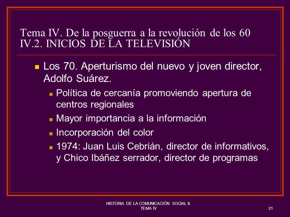 HISTORIA DE LA COMUNICACIÓN SOCIAL II. TEMA IV21 Tema IV. De la posguerra a la revolución de los 60 IV.2. INICIOS DE LA TELEVISIÓN Los 70. Aperturismo