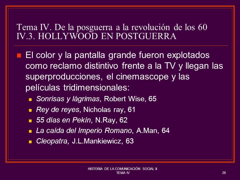 HISTORIA DE LA COMUNICACIÓN SOCIAL II. TEMA IV28 Tema IV. De la posguerra a la revolución de los 60 IV.3. HOLLYWOOD EN POSTGUERRA El color y la pantal