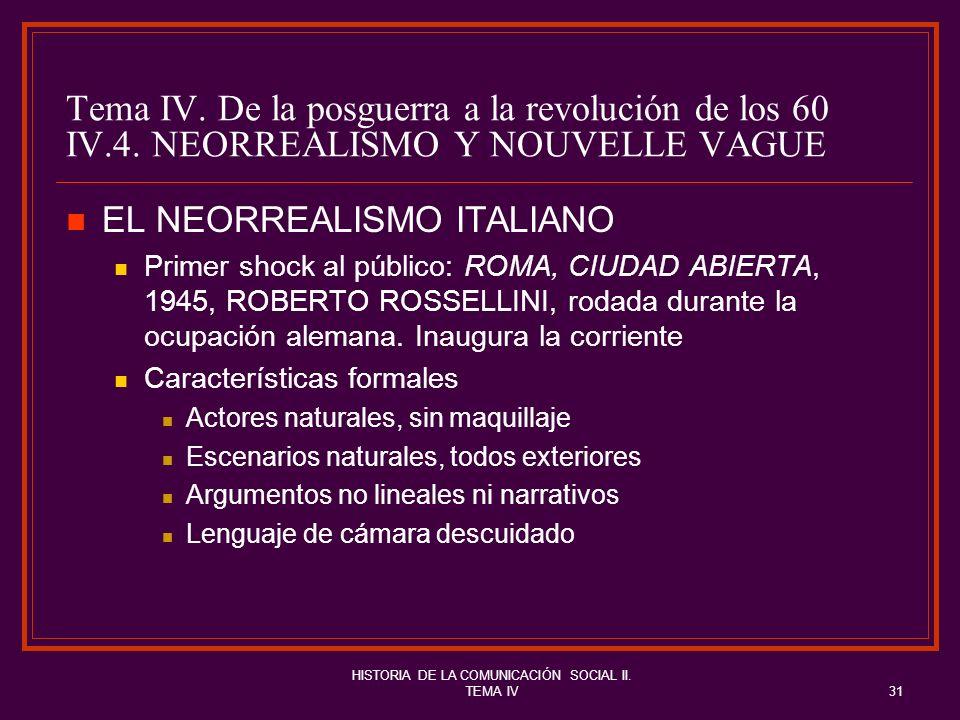 HISTORIA DE LA COMUNICACIÓN SOCIAL II. TEMA IV31 Tema IV. De la posguerra a la revolución de los 60 IV.4. NEORREALISMO Y NOUVELLE VAGUE EL NEORREALISM