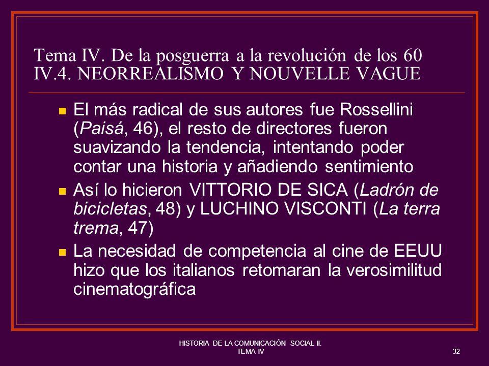 HISTORIA DE LA COMUNICACIÓN SOCIAL II. TEMA IV32 Tema IV. De la posguerra a la revolución de los 60 IV.4. NEORREALISMO Y NOUVELLE VAGUE El más radical