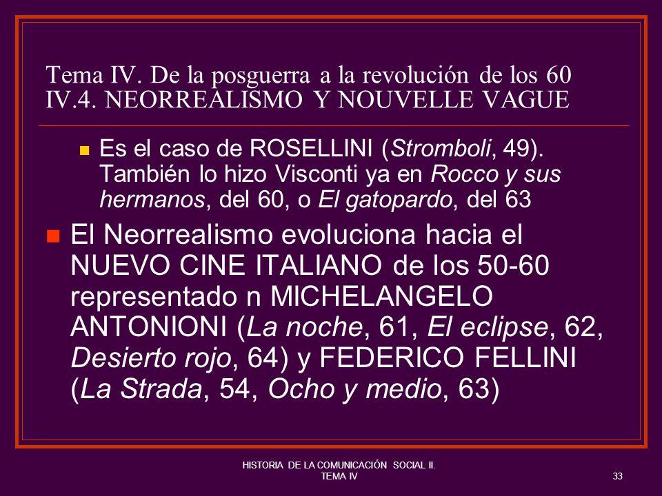 HISTORIA DE LA COMUNICACIÓN SOCIAL II. TEMA IV33 Tema IV. De la posguerra a la revolución de los 60 IV.4. NEORREALISMO Y NOUVELLE VAGUE Es el caso de